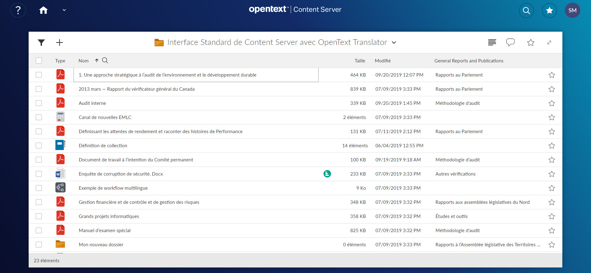 Smarrt View with OpenText Translator (French)